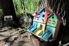Fairy houses in the Woods. A set of fairy condos setup in a development in the woods for all the woodland fairies that live in the area Royalty Free Stock Photos
