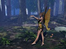 Fairy illustration. Three dimensional winged fairy illustration standing in a forest clearing Stock Photography