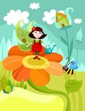 Fairy. Vector Illustration of a cute fairy in garden Royalty Free Stock Photography