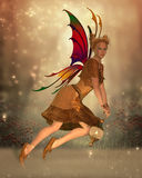 Fairy Isa. Flies through the magical forest at sunset holding a bright lantern to light her way Stock Photos