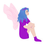 Fairy on isolated background. Drawing of a fairy on white background Stock Image