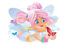 Fairy keeper of the sky, air and clouds. Beautiful fairy keeper of the sky, air and clouds. Invitation card for a holiday or birthday. Raster illustration Royalty Free Stock Photo