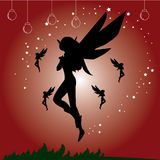 Fairy lady. Red wallpaper that design with beautiful fairy lady Royalty Free Stock Photo