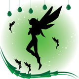 Fairy lady. Green wallpaper that design with beautiful fairy lady Stock Photography