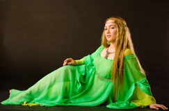 Fairy Lady. In green dress Royalty Free Stock Photography