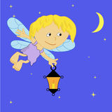 Fairy with a lamp. A fairy flies at night with a lantern Stock Photos