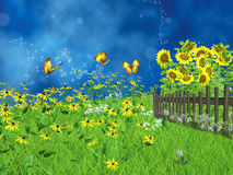 Fairy lawn with sunflowers Royalty Free Stock Photo