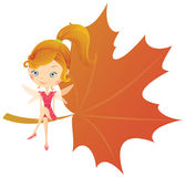 Fairy on leaf Royalty Free Stock Image