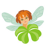 Fairy and leaf of a clover Royalty Free Stock Photography