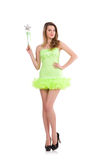 Fairy in light charming dress isolated on white Stock Photography