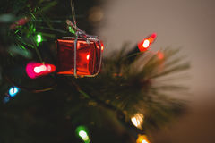 Fairy light and small gift box hanging on christmas tree Stock Image
