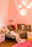 Fairy lights in bedroom. Picture of fairy lights in teen bedroom Stock Images