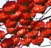 Fairy-lights. Fairy lights, chinese lanterns, red paper light and lantern, asian decor Stock Image
