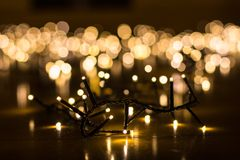 Fairy lights for the Christmas tree with blurry background stock images