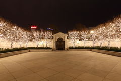 Fairy Lights in courtyard. Image of Fairy Lights on trees in courtyard decorated for Christmas, Salt Lake City, Utah, United States of America Royalty Free Stock Images