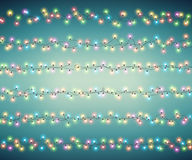 Fairy lights for festive decoration, realistic luminous bulbs. Christmas garland. Fairy lights for festive decoration, realistic luminous bulbs. Colourful Royalty Free Stock Photos