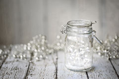 Fairy lights in a jar Royalty Free Stock Photos