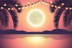 Fairy lights on purple paradise palm beach at night with full moon vector illustration