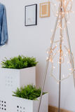 Fairy lights in teen room. Close-up of fairy lights in modern teen room Stock Images