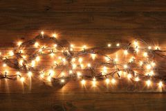 Fairy Lights. On Wooden Background with Copyspace stock photos