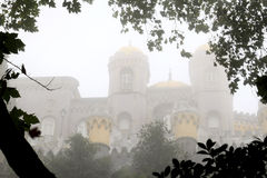 Fairy-like portuguese castle in the mist, Sintra Royalty Free Stock Image