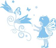 Fairy Little Girl Silhouette Stock Image