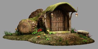 Fairy log house. With door Stock Photos