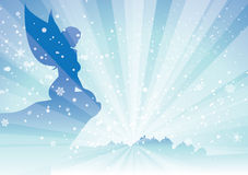 Fairy looking at village snow Royalty Free Stock Photos