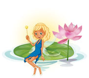 Fairy and lotus Stock Photography