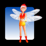 Fairy Magic. Vector illustration of a manga style fairy with gossamer wings, holding a glowing ball vector illustration