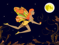 Fairy with magic flower. Flying in night sky vector illustration
