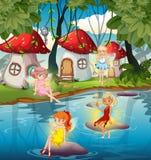 Fairy at the magic land. Illustration stock illustration