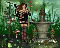 Fairy with magic tail staff. Near the pedestal - Fairy with magic tail staff Stock Photo