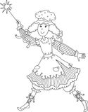 Fairy with a magic wand. Black-and-white picture Stock Photography