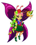 Fairy with a magic wand. Brightly colored cartoon fairy on the white background Stock Photos