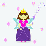 Fairy with a magic wand. A cute fairy girl with a crown, long hair, with wings, a magic wand and a dress Royalty Free Stock Photo