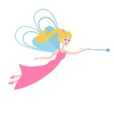 Fairy with a magic wand flying. Cartoon Fairy  isolated on white background Royalty Free Stock Photography
