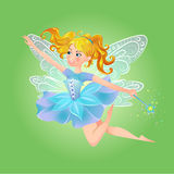 Fairy magic wand. Illustration of cute, kind, cheerful fairy with a magic wand Royalty Free Stock Photography