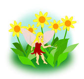 Fairy with Magic Wand. A little fairy with a magic wand sitting between yellow flowers Royalty Free Stock Images