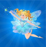 Fairy magic wand lue background. Illustration of cute, kind, cheerful fairy with a magic wand on a blue background Royalty Free Stock Image