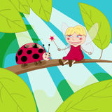 Fairy with magic wand. Tiny fairy is holding magic wand in front of the funny ladybug Stock Images