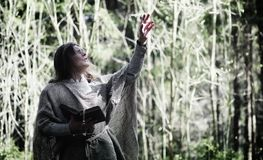 Fairy magician. A sorcerer with a glass sphere, a magical spell. And a ritual. Elder with a staff and a cross in the forest. Black and white magic. A spell in royalty free stock photography