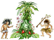 Fairy maiden of jungle and aboriginals. Illustration of two aboriginals looking at fairy maiden of jungle Royalty Free Stock Images