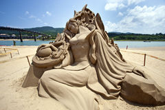 Fairy maiden sand sculpture Stock Images