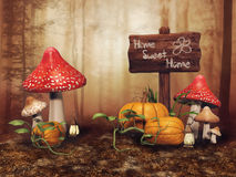 Fairy meadow with pumpkins Stock Images