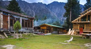 Fairy Meadows Cottages. Fairy Meadows is reachable by a twelve kilometer-long jeepable trek starting from Raikot bridge on Karakoram Highway to the village Tato royalty free stock images
