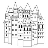 Fairy medieval castle. Vintage black and white hand drawn vector illustration Royalty Free Stock Image