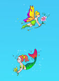 Fairy and mermaid page Royalty Free Stock Photo