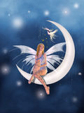 A fairy in the moon. Beautiful fairy sitting in the moon looking a fantastic bird Stock Photo