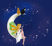Fairy on moon with cats. Beautiful fairy sitting on moon with two cats Royalty Free Stock Photography